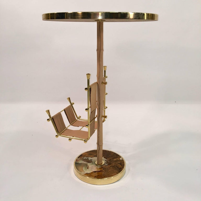 Gilt Brass, Onyx and Stitched Leather Occasional Table with Magazine Rack For Sale 4