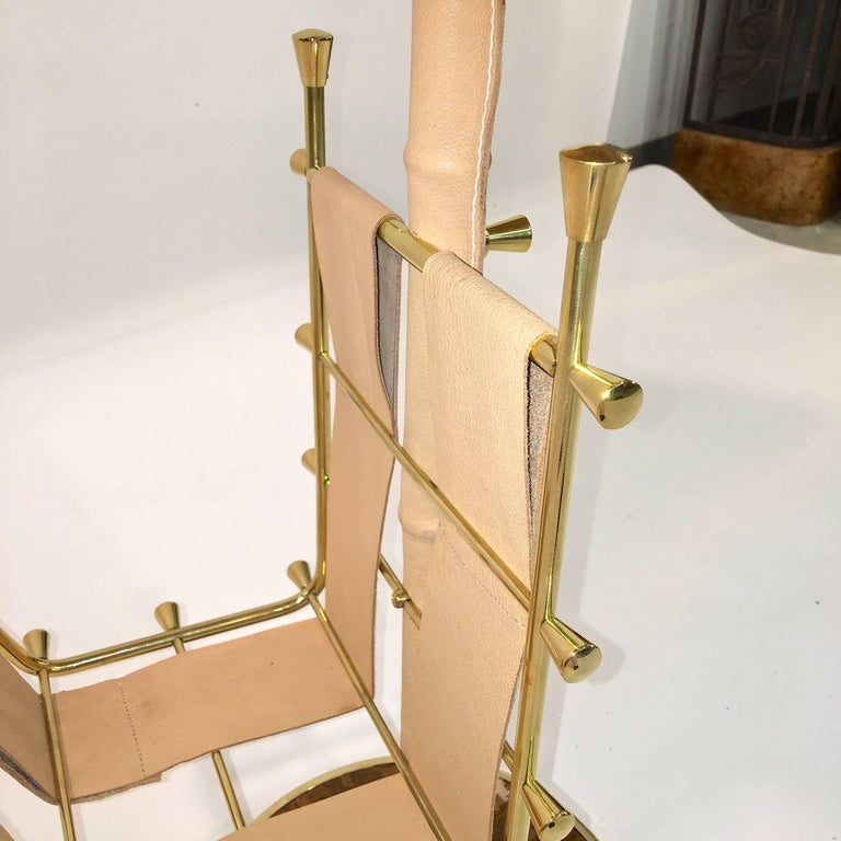 Gilt Brass, Onyx and Stitched Leather Occasional Table with Magazine Rack For Sale 6