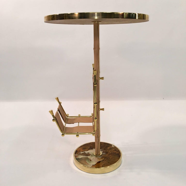 Gilt Brass, Onyx and Stitched Leather Occasional Table with Magazine Rack For Sale 9
