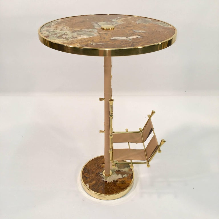 Gilt Brass, Onyx and Stitched Leather Occasional Table with Magazine Rack For Sale 10