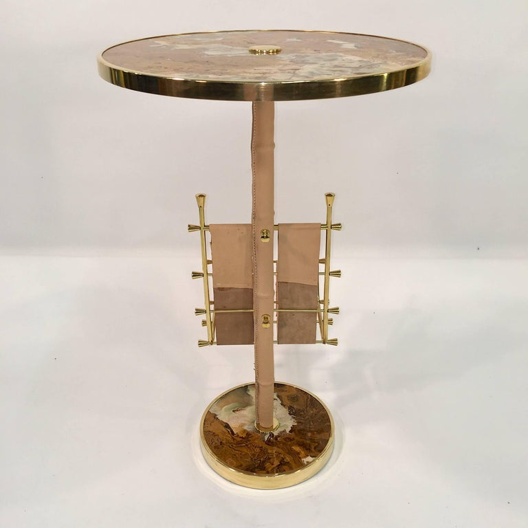 Gilt Brass, Onyx and Stitched Leather Occasional Table with Magazine Rack For Sale 11