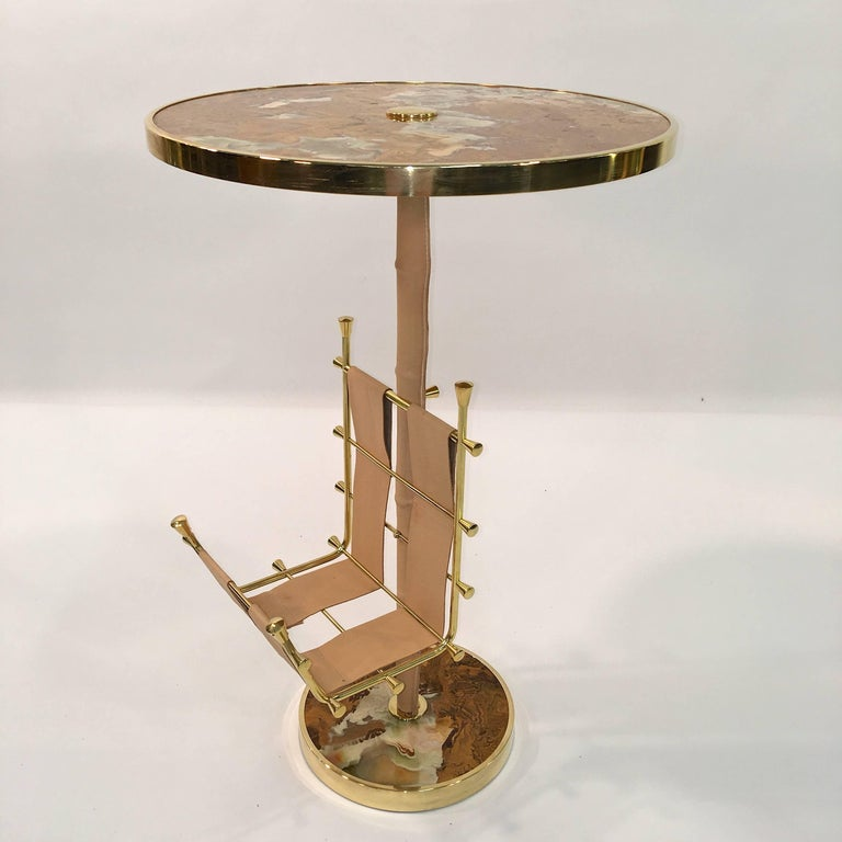 Mid-Century Modern Gilt Brass, Onyx and Stitched Leather Occasional Table with Magazine Rack For Sale