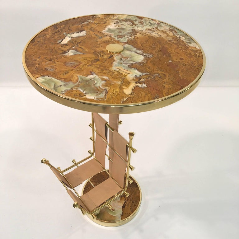 American Gilt Brass, Onyx and Stitched Leather Occasional Table with Magazine Rack For Sale