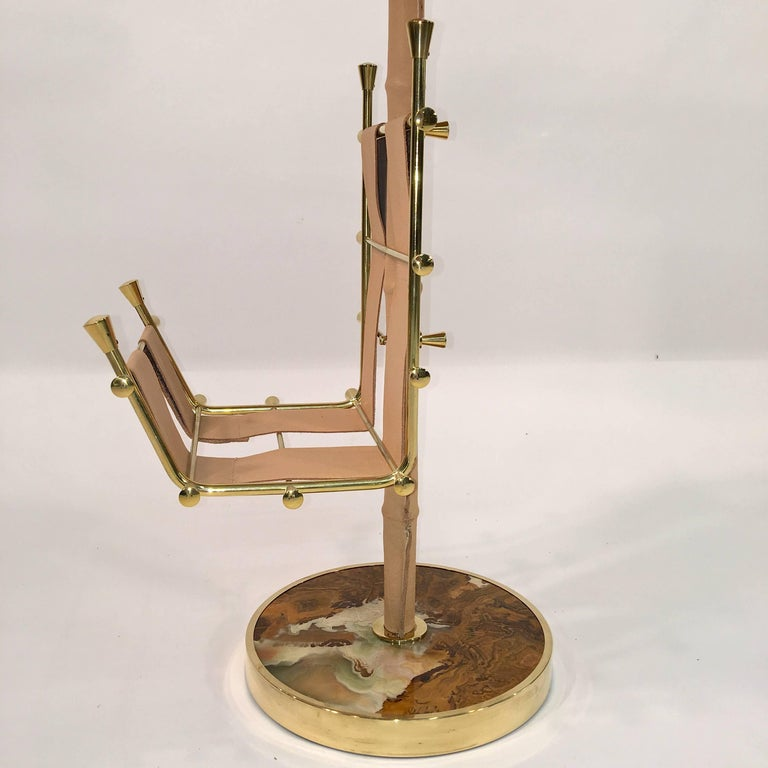 Gilt Brass, Onyx and Stitched Leather Occasional Table with Magazine Rack In Excellent Condition For Sale In Hingham, MA