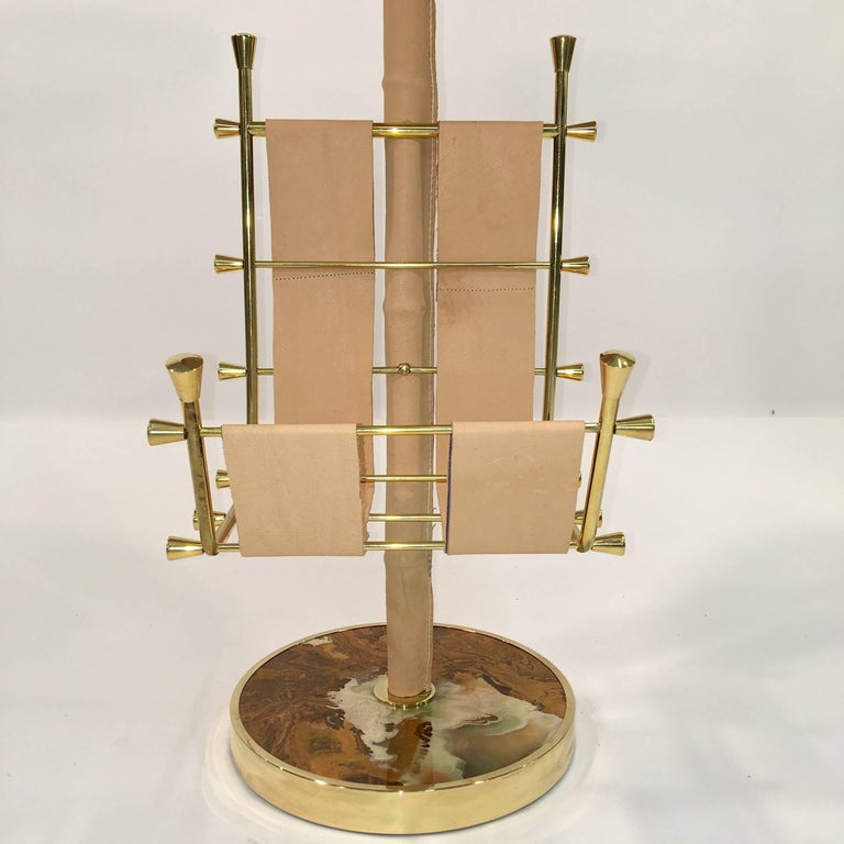 Gold Plate Gilt Brass, Onyx and Stitched Leather Occasional Table with Magazine Rack For Sale