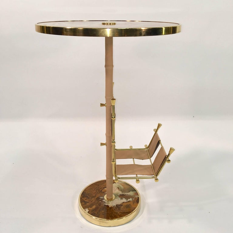 Gilt Brass, Onyx and Stitched Leather Occasional Table with Magazine Rack For Sale 2