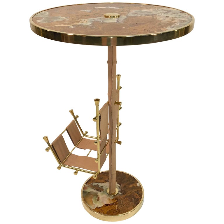 Gilt Brass, Onyx and Stitched Leather Occasional Table with Magazine Rack For Sale
