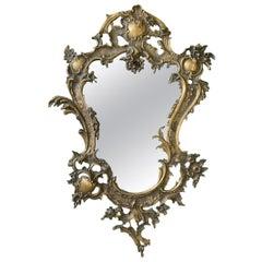 Gilt Brass Ormolu Rococo Style Wall Mirror