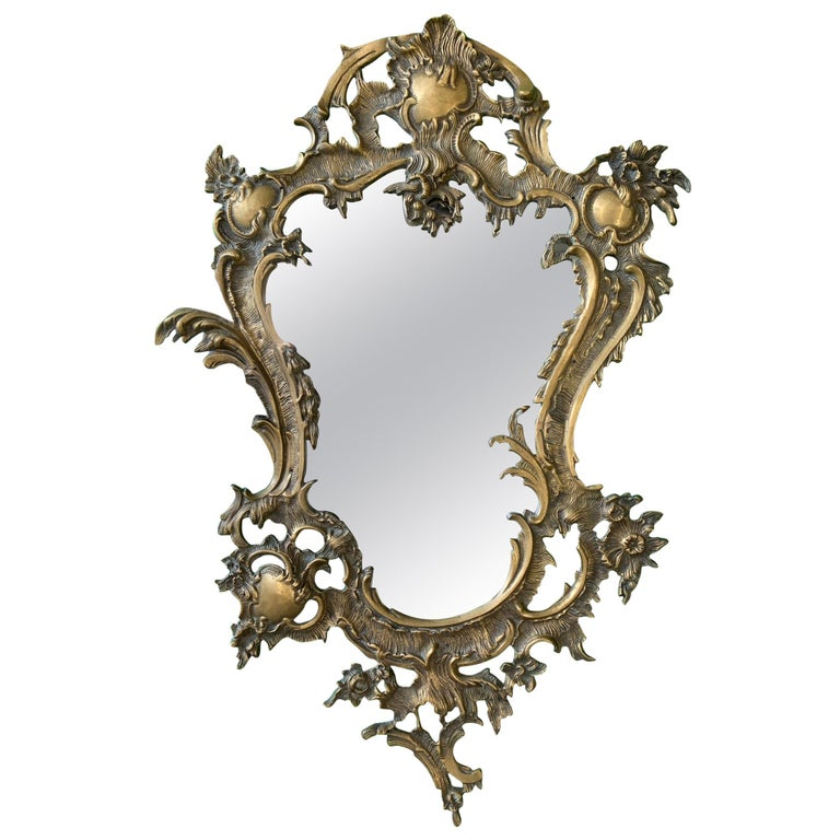 Gilt Brass Ormolu Rococo Style Wall, Vintage Brass Rococo Wall Mirror