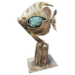 Gilt Brass Sculpture and Turquoise Stone Included in the Body of the Fish