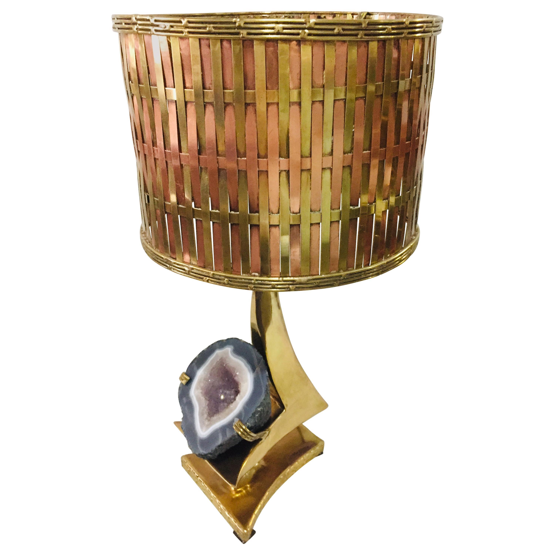 Gilt Brass Sculpture Table Lamp Quartz Geode Brass Lampshade J.Duval Brasseur