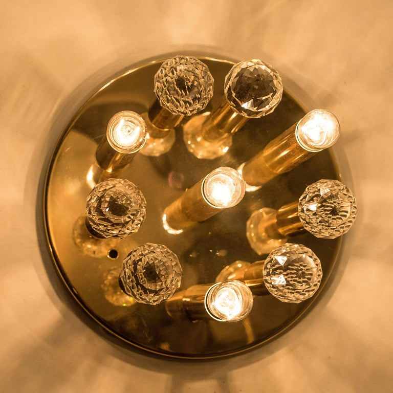 Gilt Brass Set with Swarovski Balls by Ernst Palme for Palwa, 1960s For Sale 1