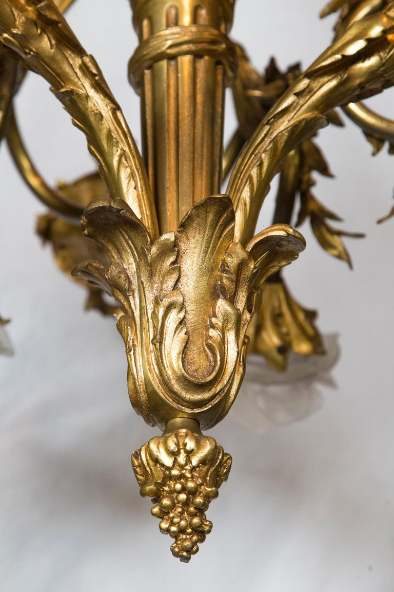 Gilt Bronze 7-Light French Belle Epoque Chandelier In Good Condition For Sale In Woodbury, CT
