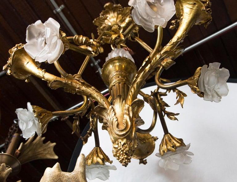 19th Century Gilt Bronze 7-Light French Belle Epoque Chandelier For Sale