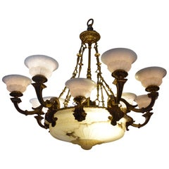 Gilt Bronze and Alabaster Chandelier