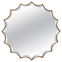 Gilt Bronze and Beveled Glass Starburst Mirror Mid-Century Modern