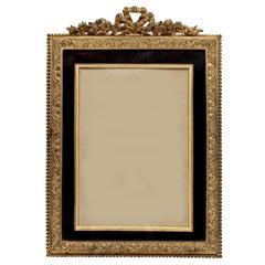 Gilt Bronze and Burgundy Velvet Photo Frame
