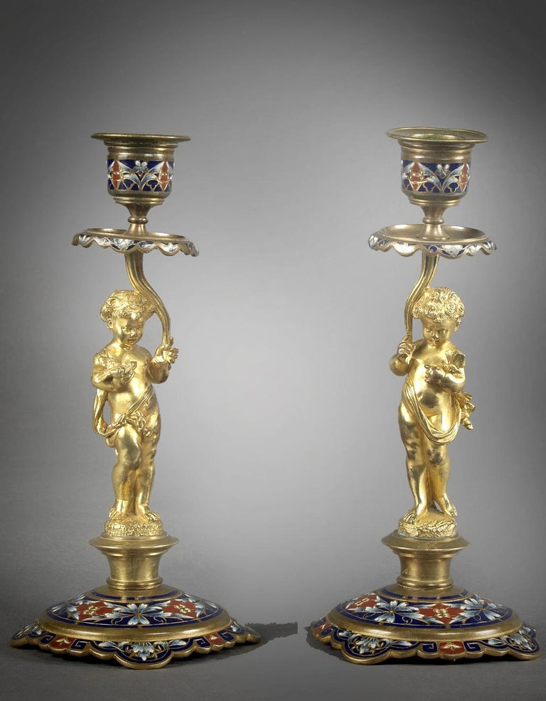 French Gilt-Bronze and Champlevé Enamel Garniture Set, circa 1890 For Sale