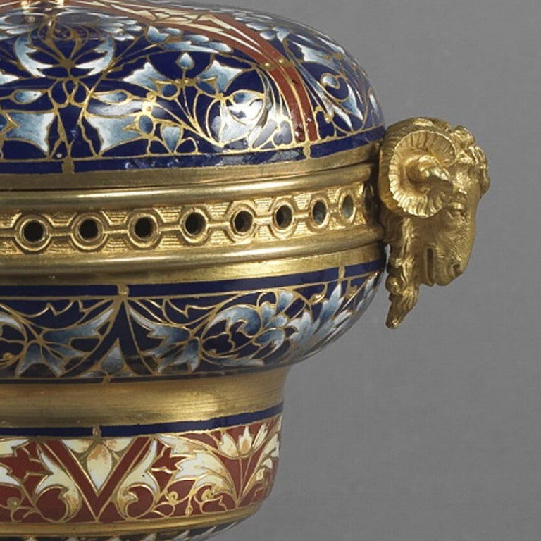 19th Century Gilt-Bronze and Champlevé Enamel Garniture Set, circa 1890 For Sale