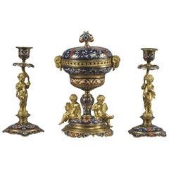 Gilt-Bronze and Champlevé Enamel Garniture Set, circa 1890