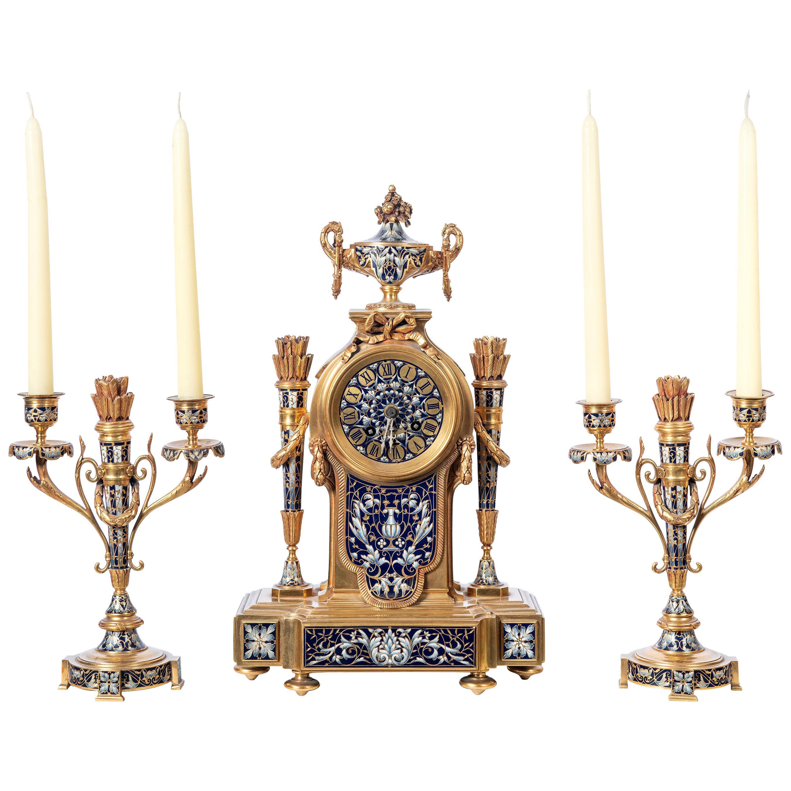 Gilt-Bronze and Cloisonné Garniture. France, 19th Century