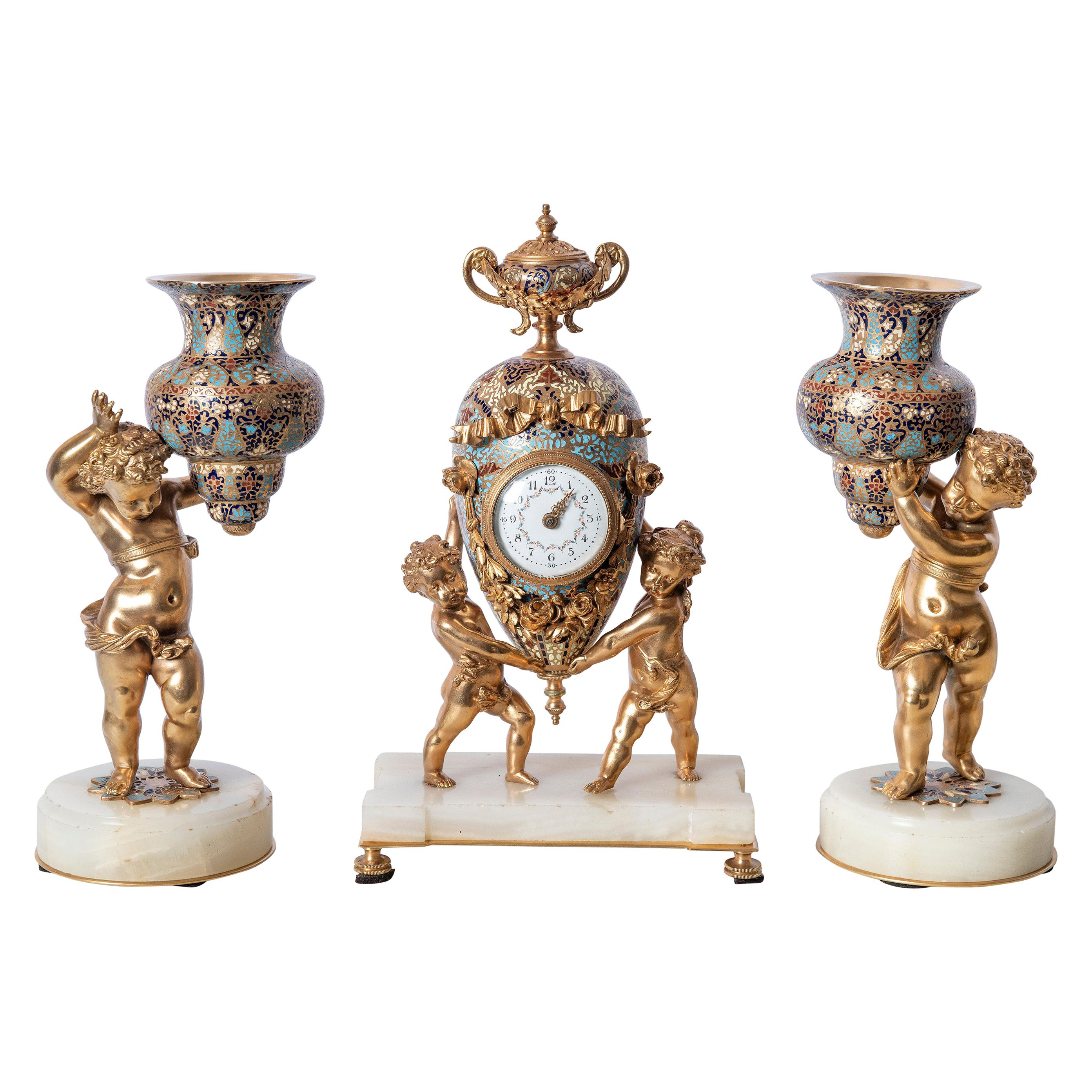 Gilt-Bronze and Cloisonné Garniture with Angels Figures, France, 19th Century