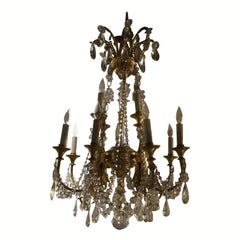 Gilt Bronze and Crystal 12-Light Chandelier with Swarovski Crystals