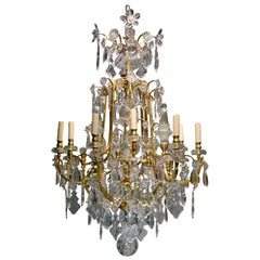 Baccarat Gilt Bronze and Crystal Chandelier