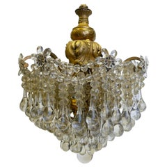 Gilt Bronze and Crystal Pendant Chandelier by E. F. Caldwell