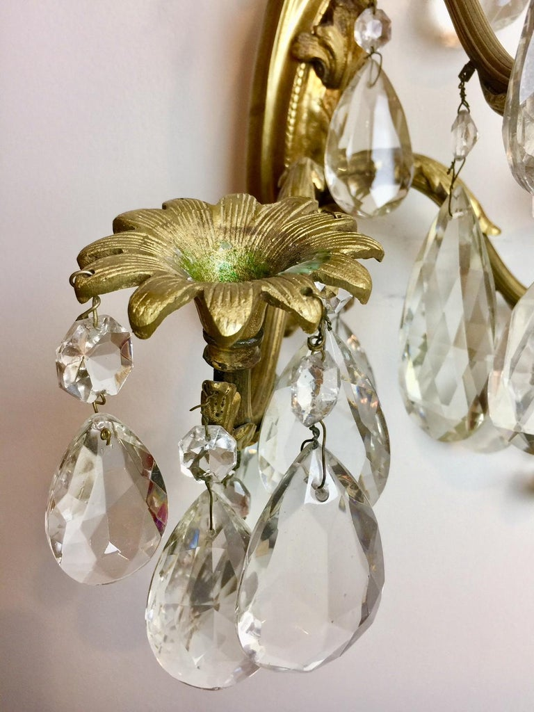 Gilt Bronze and Crystal Sconces, Pair For Sale 6