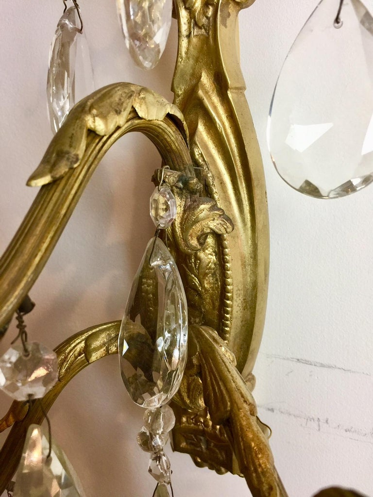 Gilt Bronze and Crystal Sconces, Pair For Sale 10