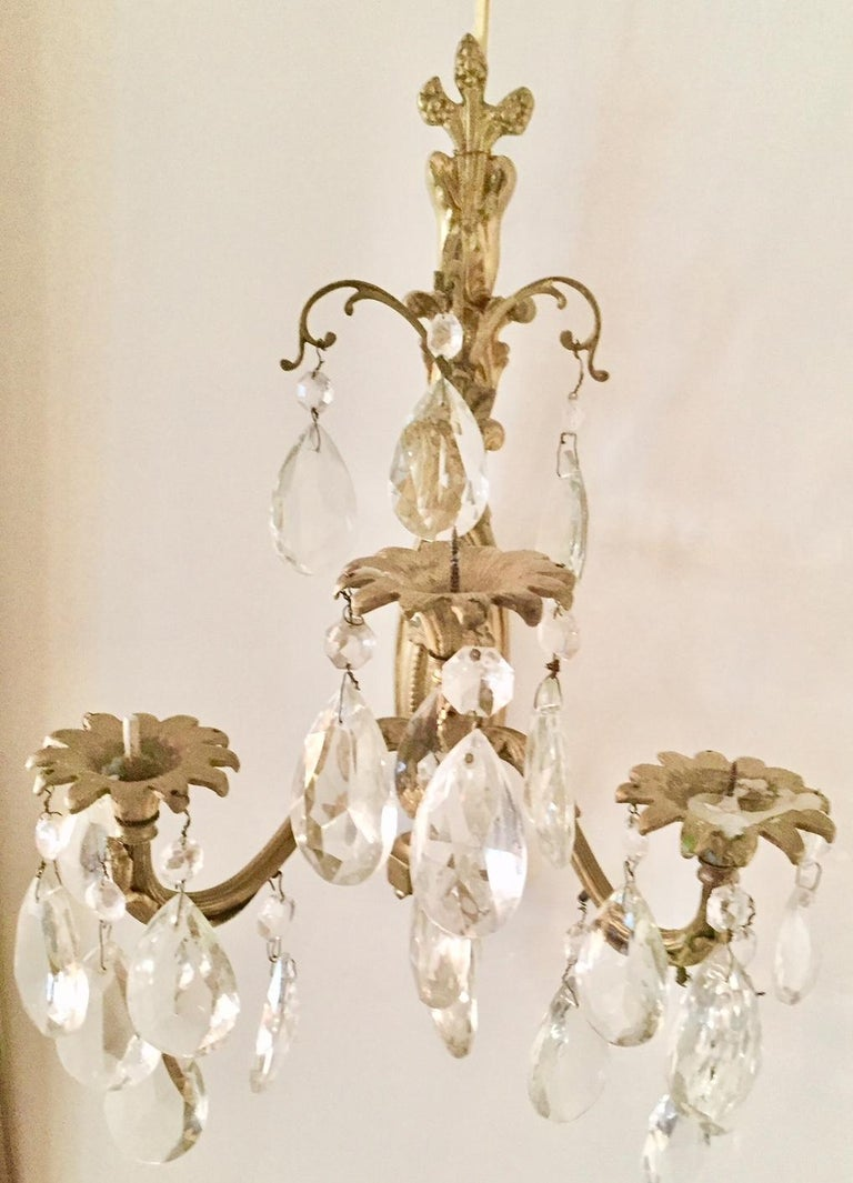 Louis XV Gilt Bronze and Crystal Sconces, Pair For Sale