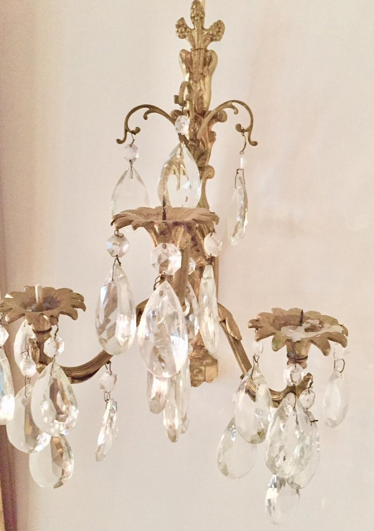 French Gilt Bronze and Crystal Sconces, Pair For Sale
