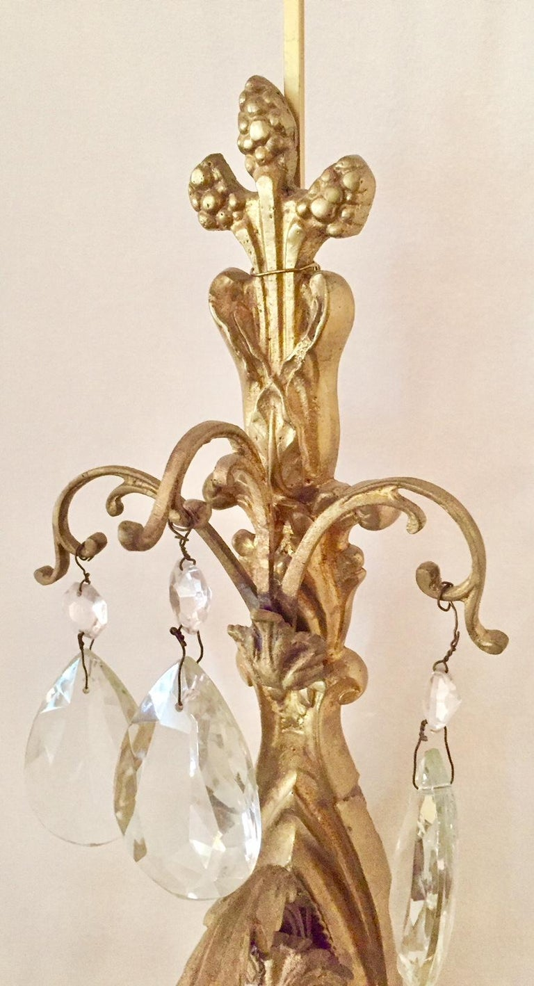 Gilt Bronze and Crystal Sconces, Pair In Excellent Condition For Sale In Montreal, Quebec