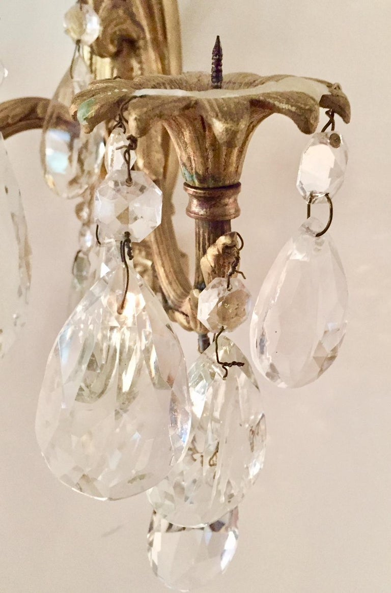 20th Century Gilt Bronze and Crystal Sconces, Pair For Sale