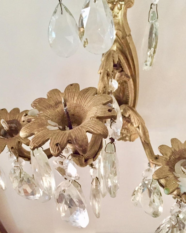 Gilt Bronze and Crystal Sconces, Pair For Sale 2