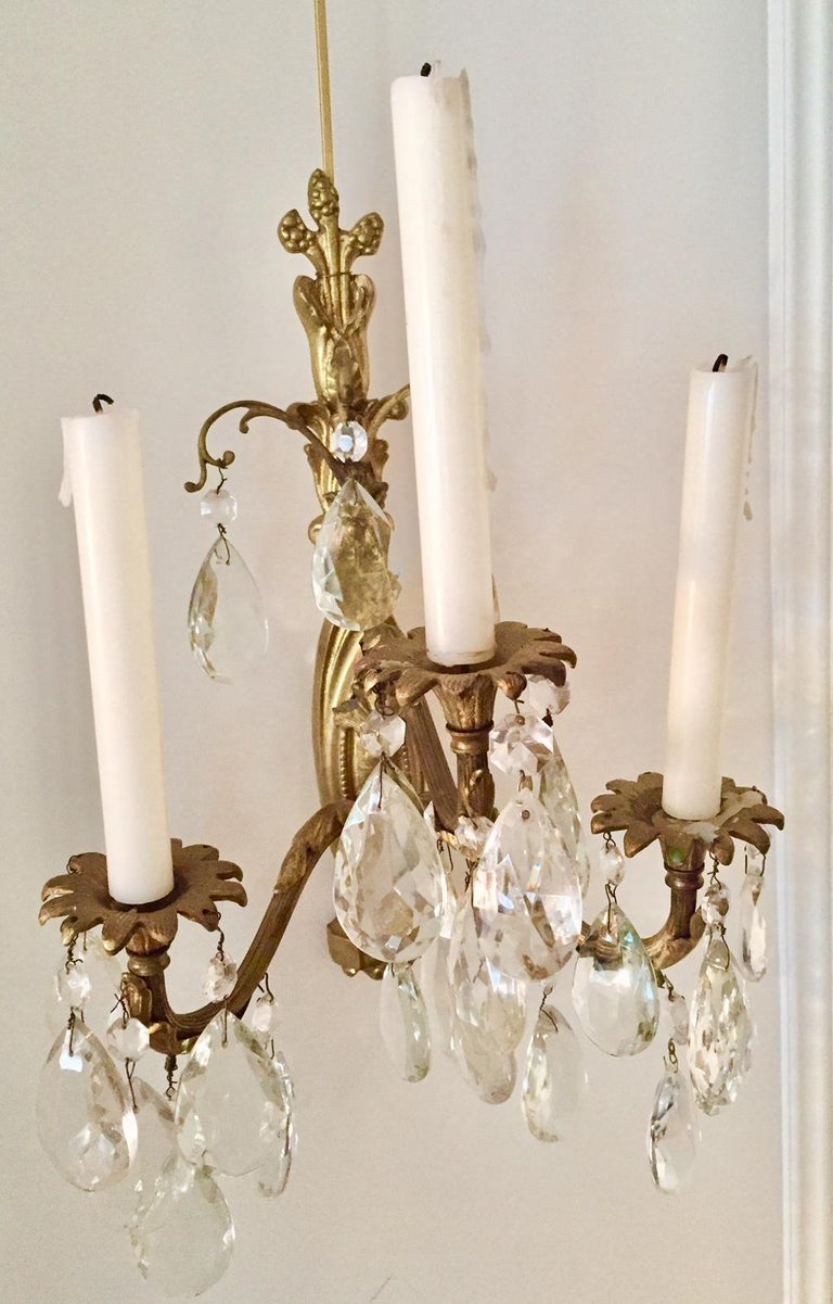 Gilt Bronze and Crystal Sconces, Pair For Sale 3