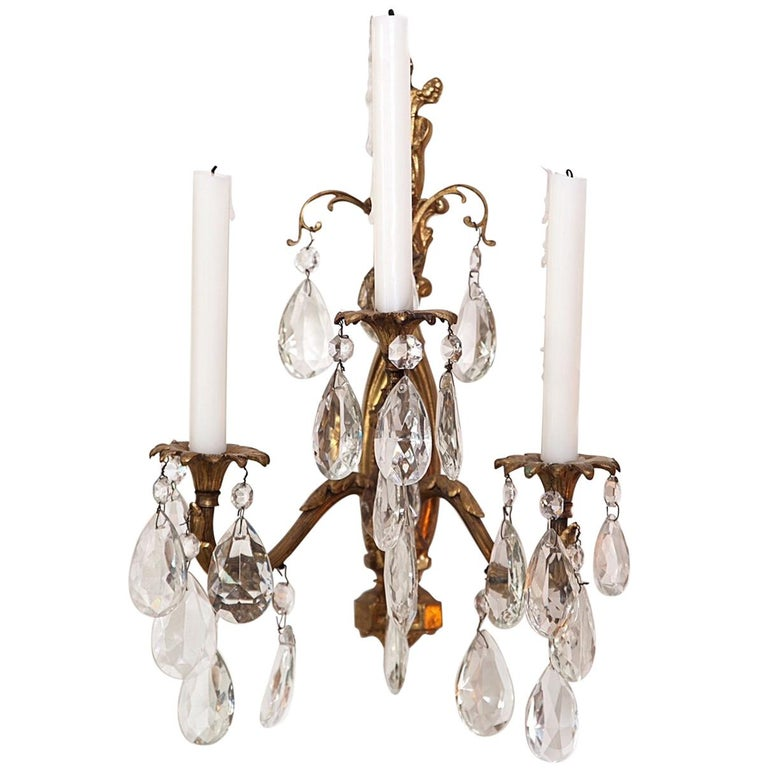 Gilt Bronze and Crystal Sconces, Pair For Sale