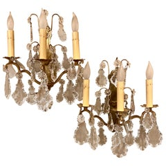 Gilt Bronze and Crystal Three-Light Wall Sconces French Early 20th Century, Pair