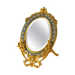 Gilt Bronze and Enamel Table Mirror, Bevelled Mirror, 19th Century