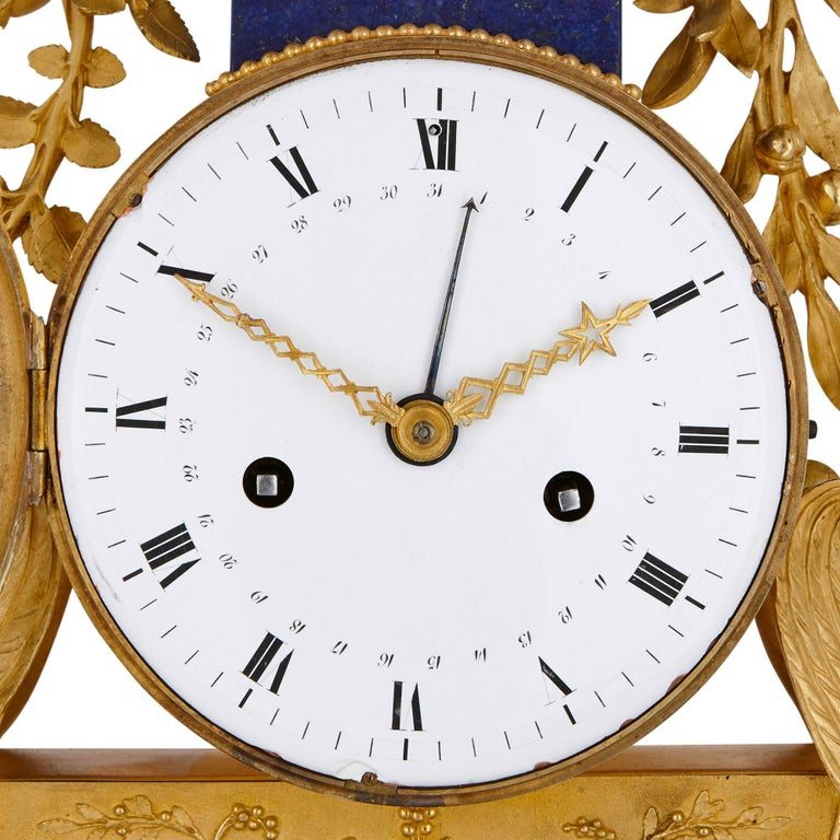 Gilt Bronze and Lapis French Empire Period Mantel Clock In Good Condition For Sale In London, GB