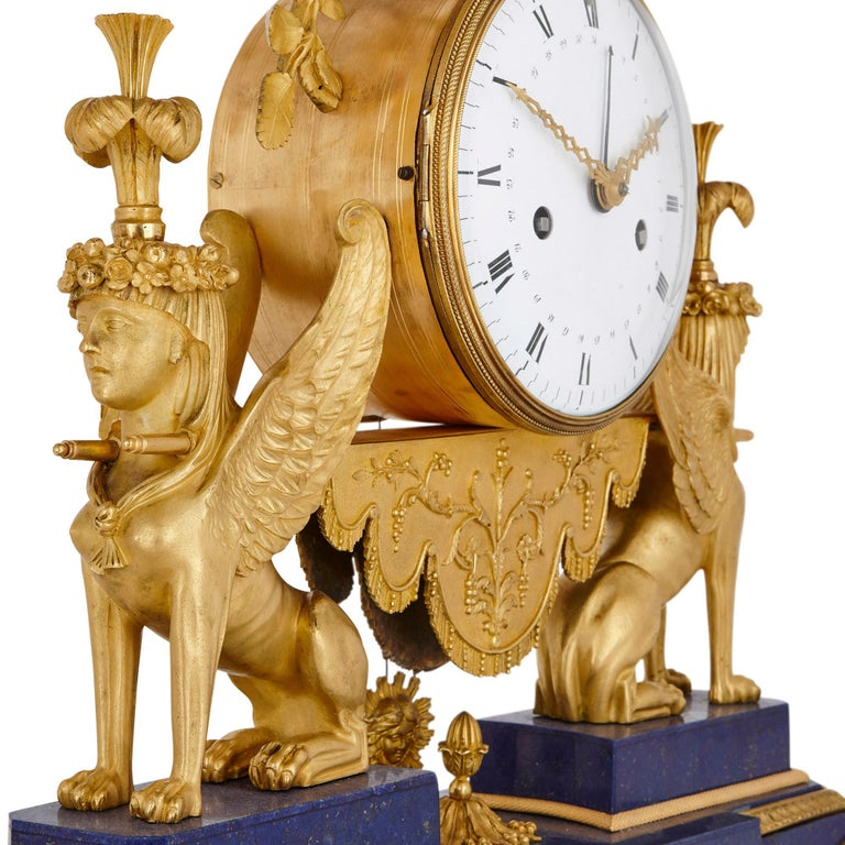 19th Century Gilt Bronze and Lapis French Empire Period Mantel Clock For Sale