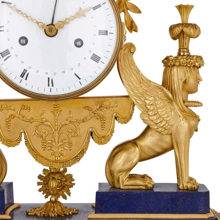 Gilt Bronze and Lapis French Empire Period Mantel Clock For Sale 1