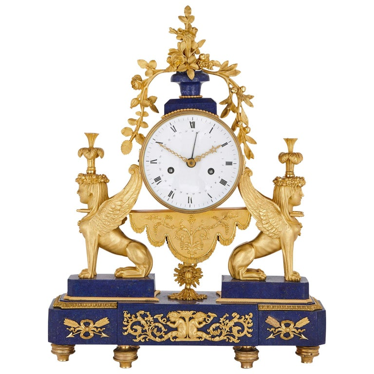 Gilt Bronze and Lapis French Empire Period Mantel Clock For Sale