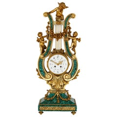 Gilt Bronze and Malachite Harp Shaped Mantel Clock
