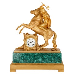 Gilt Bronze and Malachite Neoclassical Mantel Clock