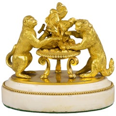 Gilt Bronze and Marble Animal Ornament Group, Continental, circa 1820