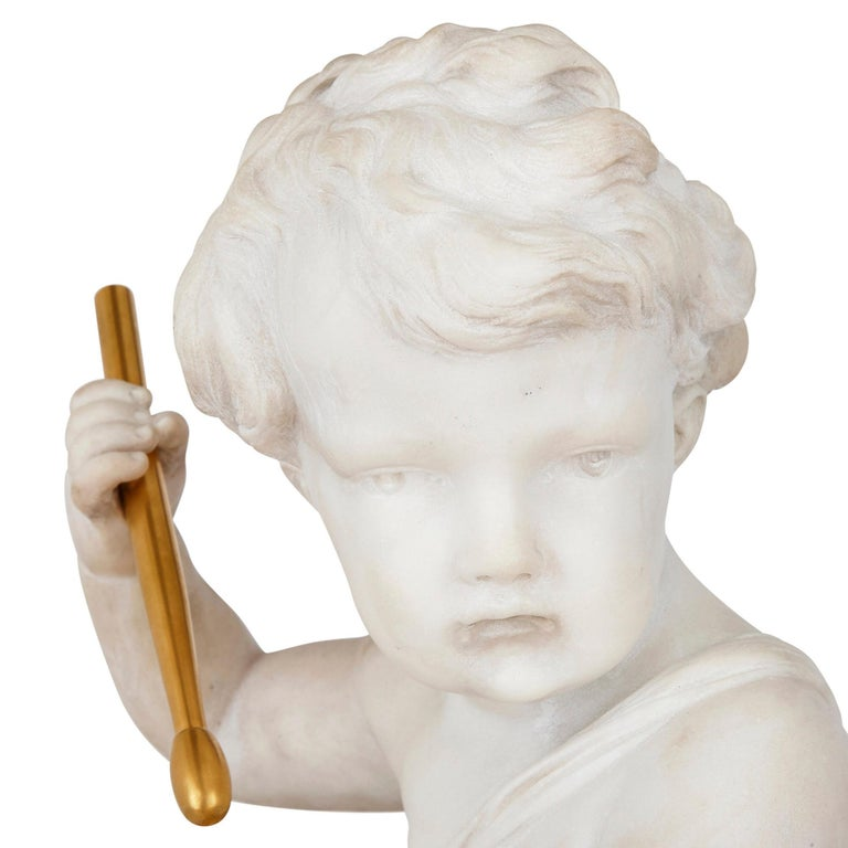 French Gilt Bronze and Marble Cherub Mantel Clock by Raingo Frères For Sale