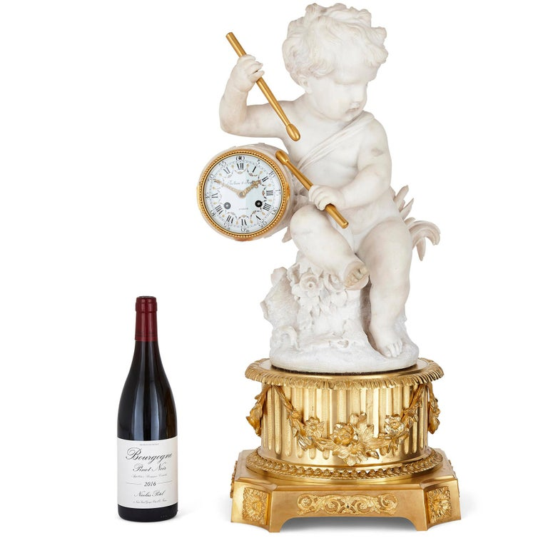 Gilt Bronze and Marble Cherub Mantel Clock by Raingo Frères In Good Condition For Sale In London, GB