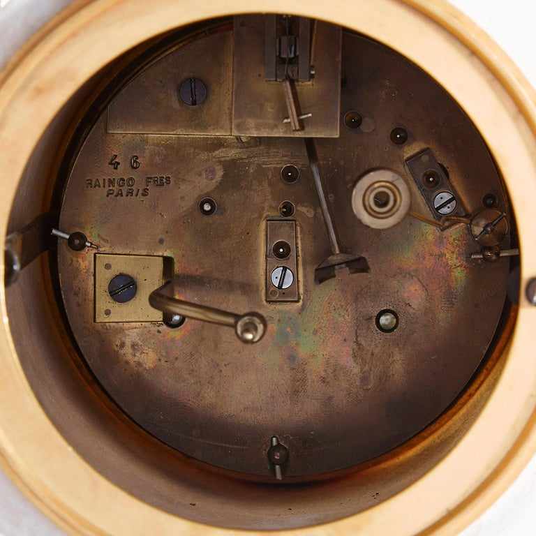 19th Century Gilt Bronze and Marble Cherub Mantel Clock by Raingo Frères For Sale